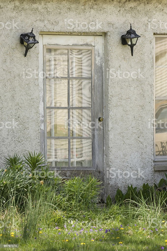 Old Door & Stucco House stock photo