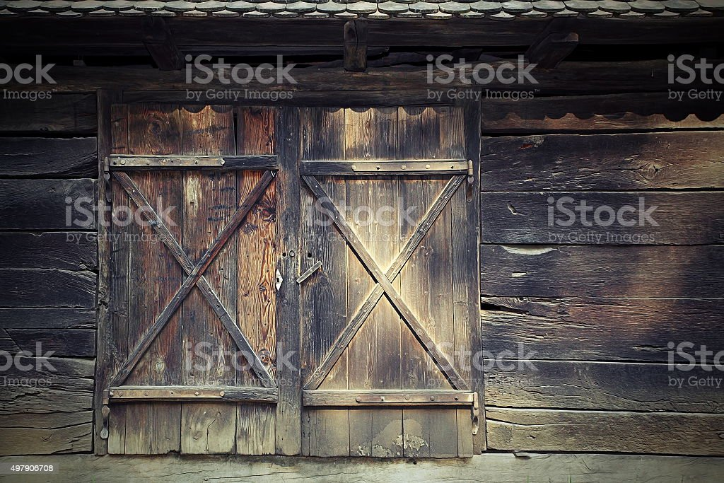 old door to traditional romanian cottage stock photo
