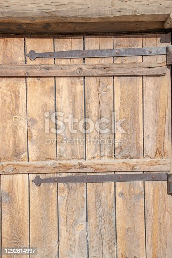 Old wooden door in trading fort in western USA