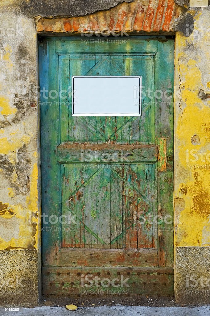 old door with sign royalty-free stock photo