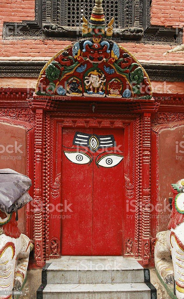 Old Doors In Bhaktapur, Nepal royalty-free stock photo