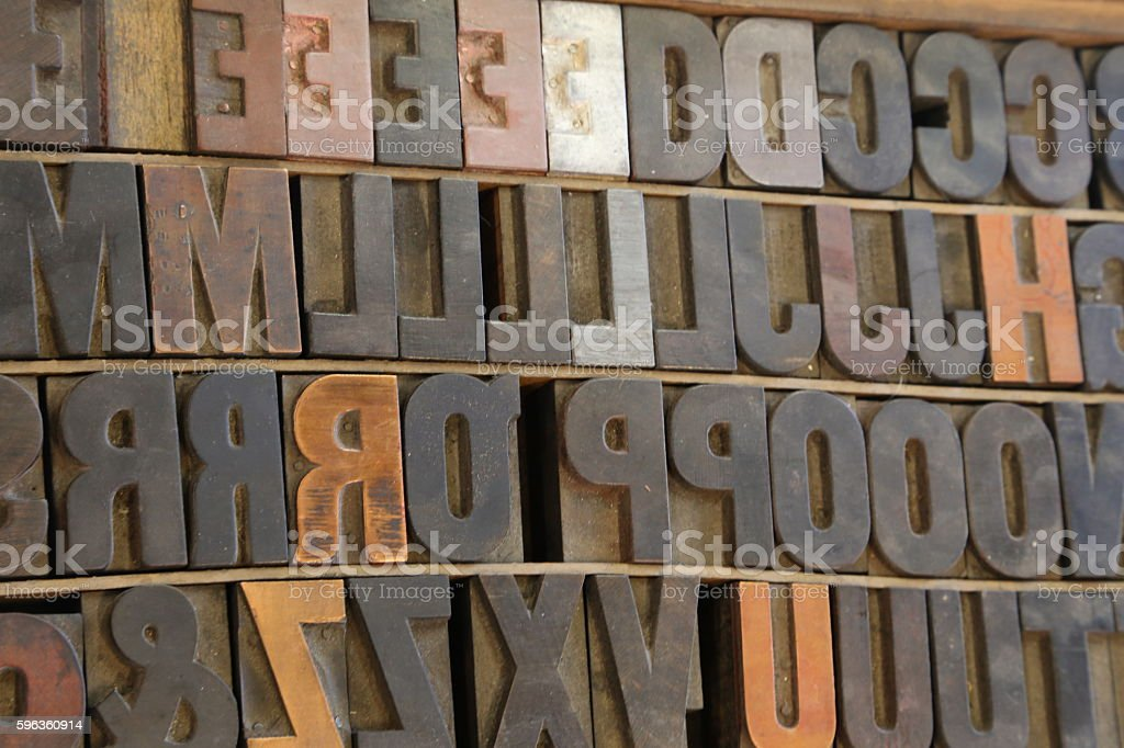 Old Drawer Of Large Letterpress Type Stock Photo - Download