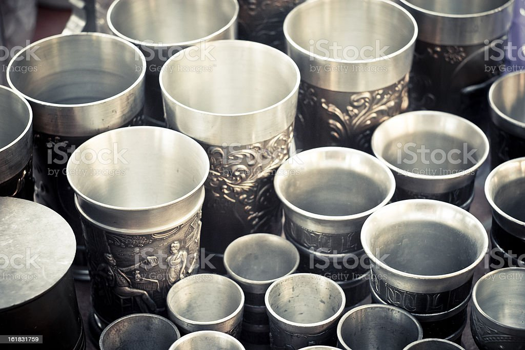Old drink glasses stock photo