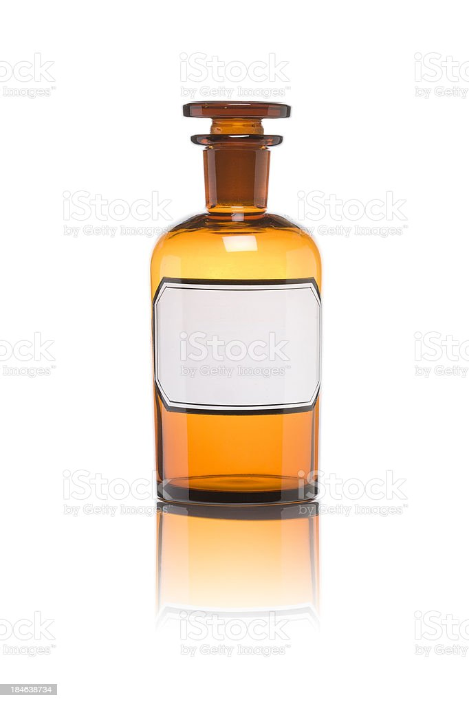 Old drugstore bottle. Copy space stock photo