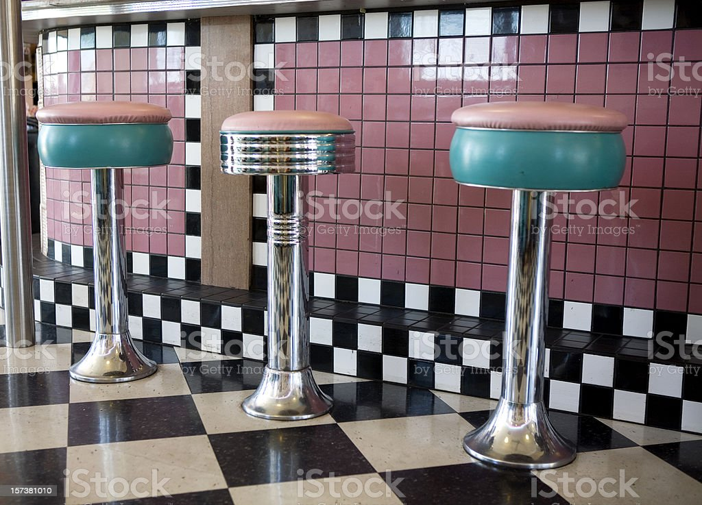 Old Drugstore Soda Fountain Seats stock photo