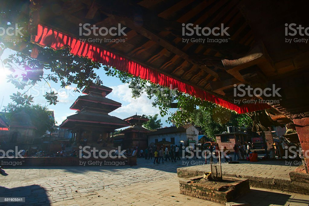 Old Durbar Square with pagodas. Largest city of Nepal stock photo