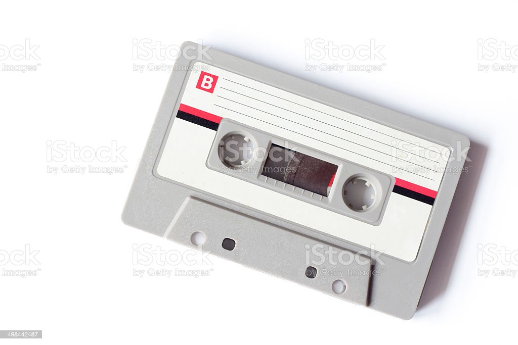 Old dusty cassette tape stock photo