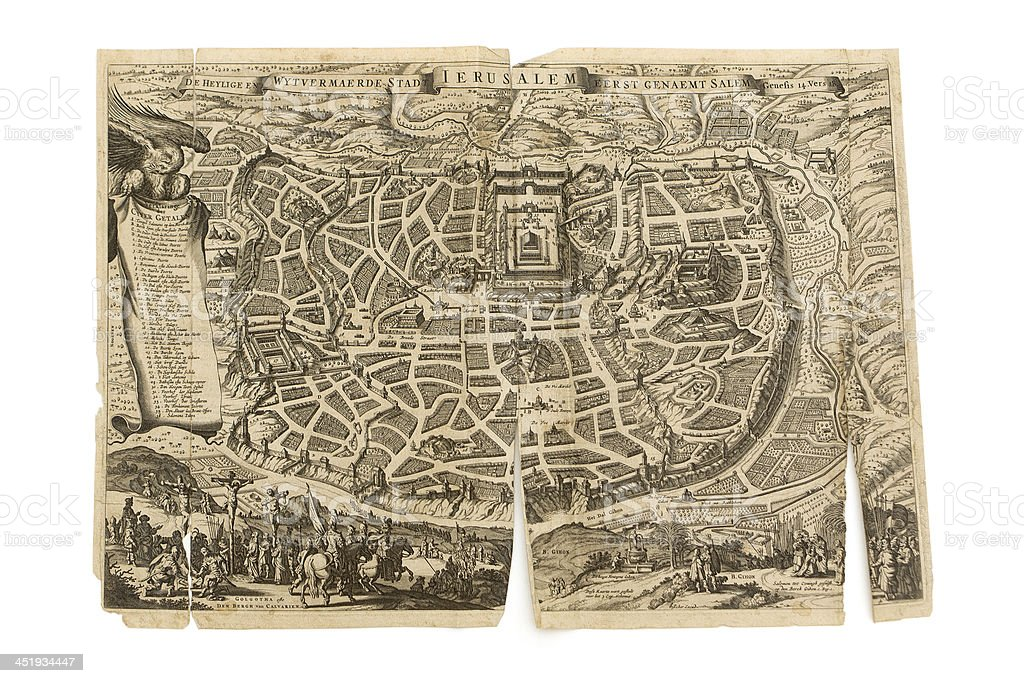 Old Dutch Antique Map - Jerusalem stock photo