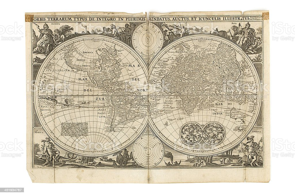 Old Dutch Antique Map - World stock photo