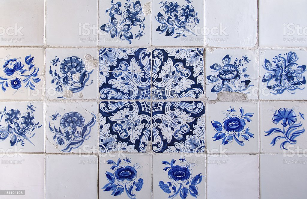 Old Dutch Delftware Tiles stock photo