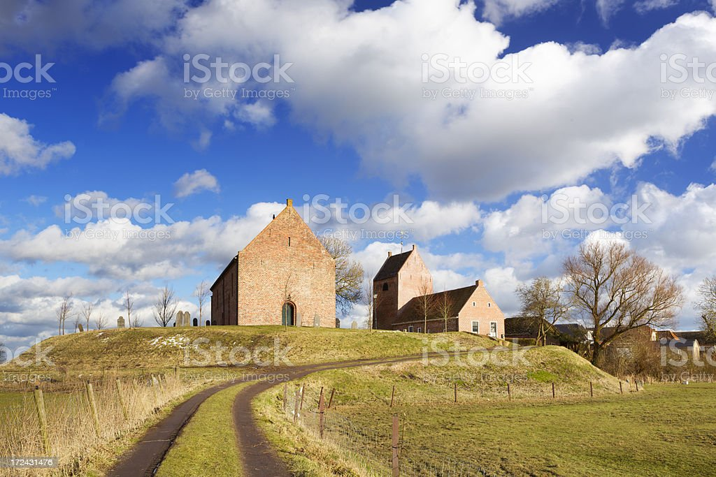 Old Dutch village built on a mound stock photo