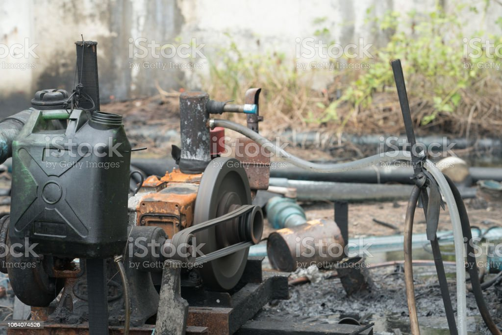 Old dynamo or a power generator. stock photo