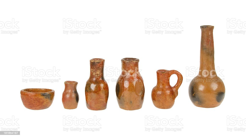 Old earthen bowls isolated royalty-free stock photo