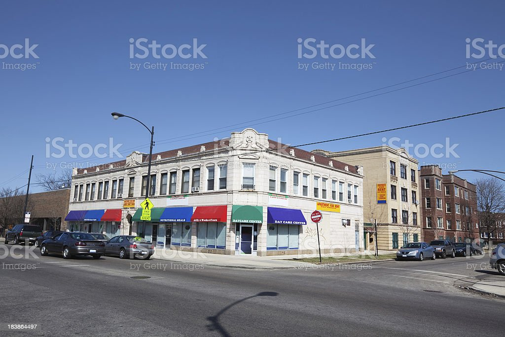 Old Edwardian commercial building in Chicago Lawn royalty-free stock photo