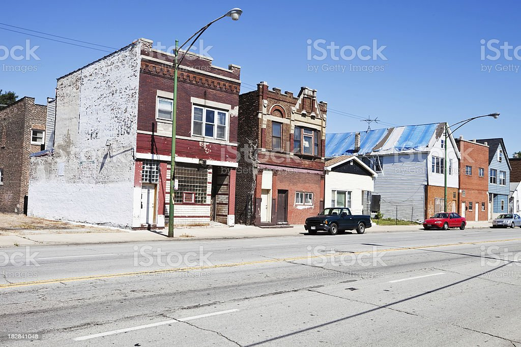 Old Edwardian Shops in South Deering, Chicago royalty-free stock photo