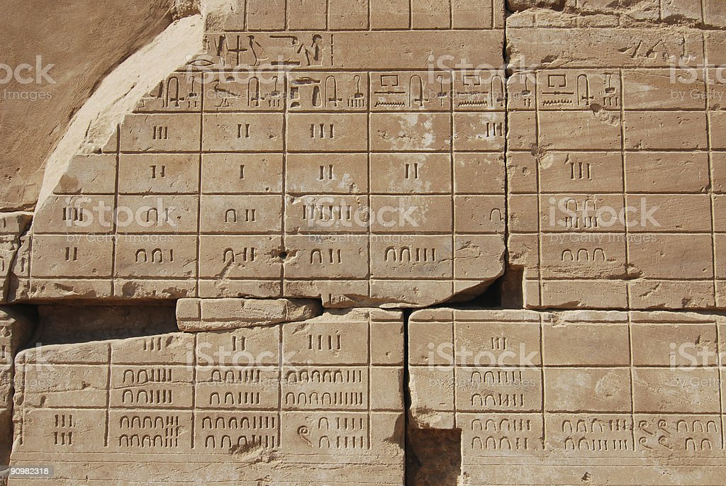 Old egyptian calendar in Karnak temple royalty-free stock photo