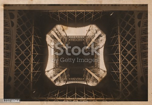 Old Eiffel Tower style 1900'S postcard.