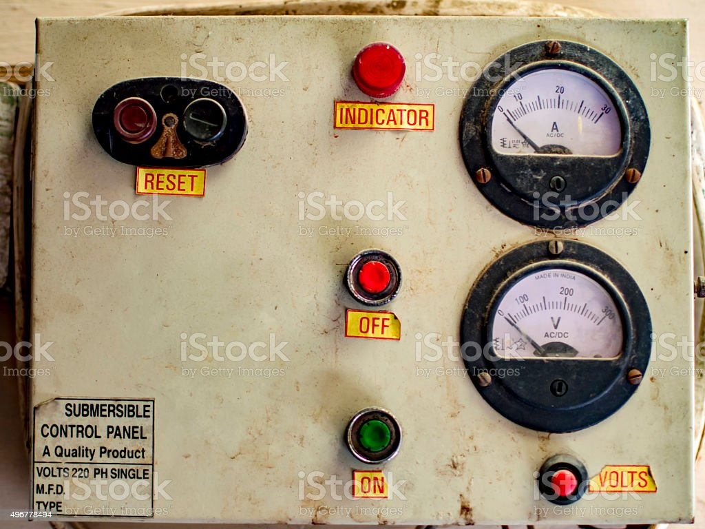 Old electric control panel stock photo
