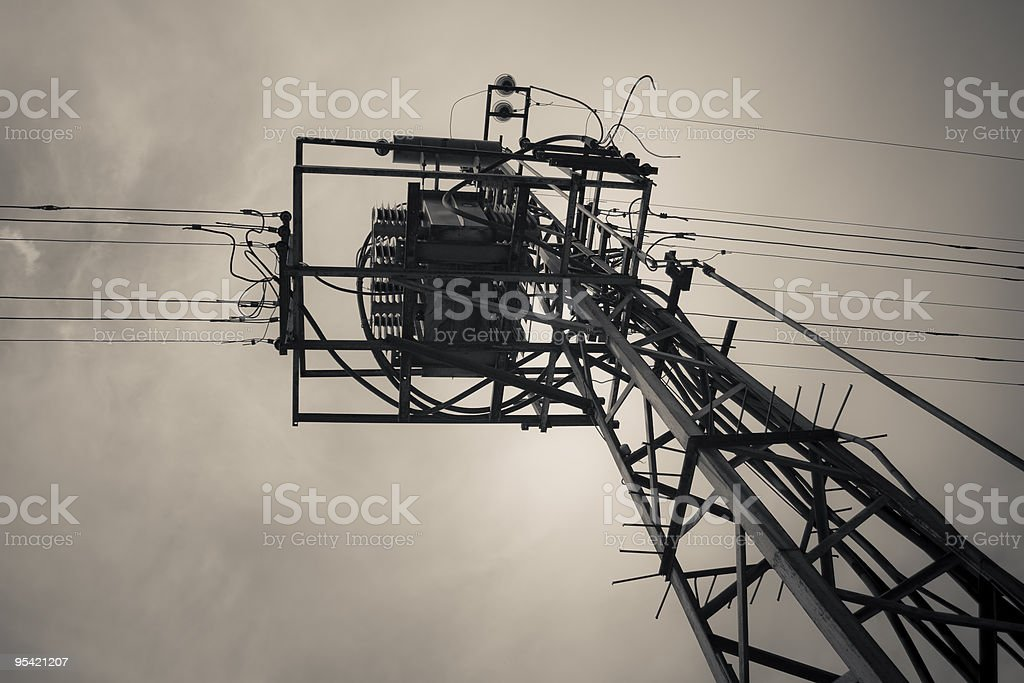 old electric transformer stock photo