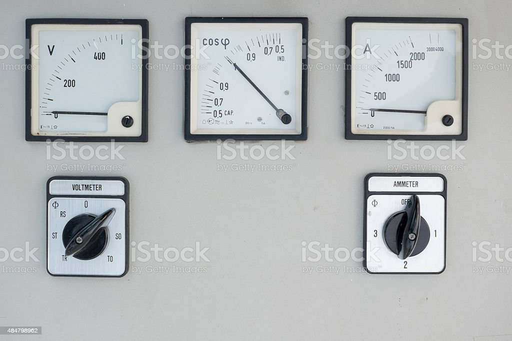 Old electric volt and amp meter stock photo