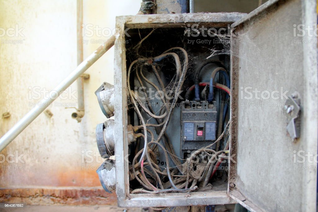 Old Electric Wire And Switch In Dirty Service Box On Vintage ...