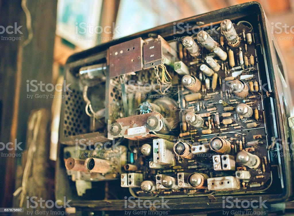 Old Electrical Panel In The Television Circuit Board Stock