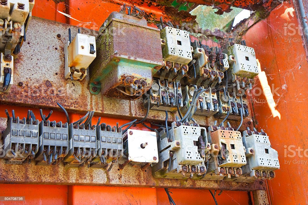 Old electrical panel of an abandoned factory stock photo