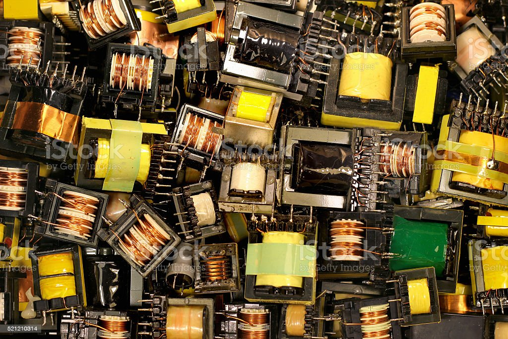 Old electrical transformers stock photo
