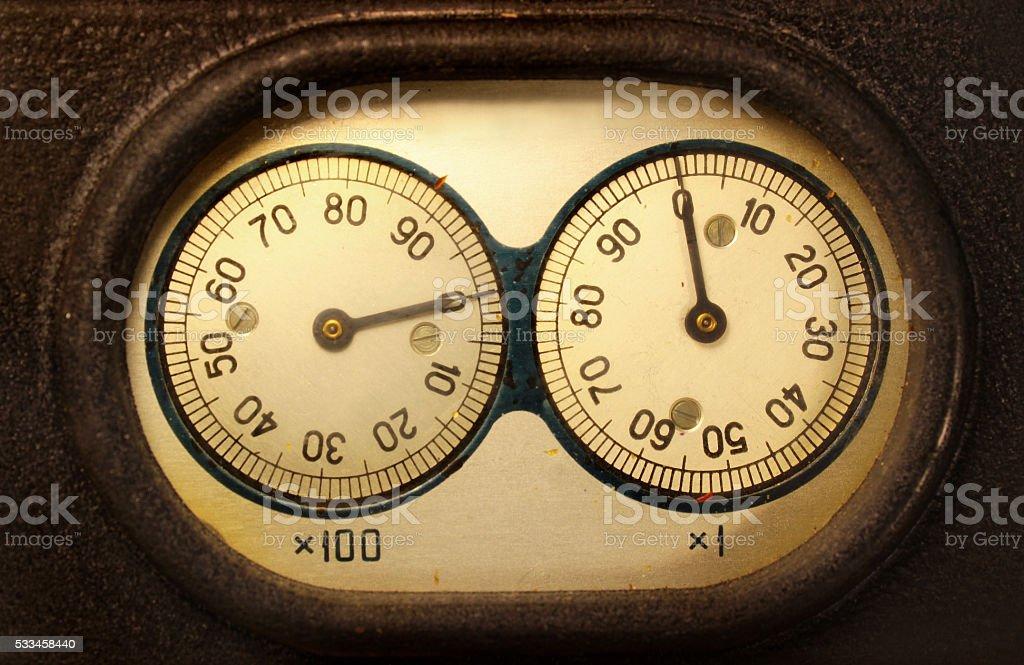 Old electromechanical counter stock photo