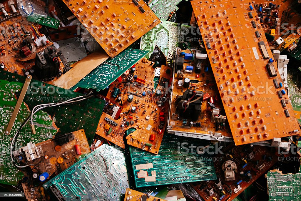 Old electronic boards stock photo