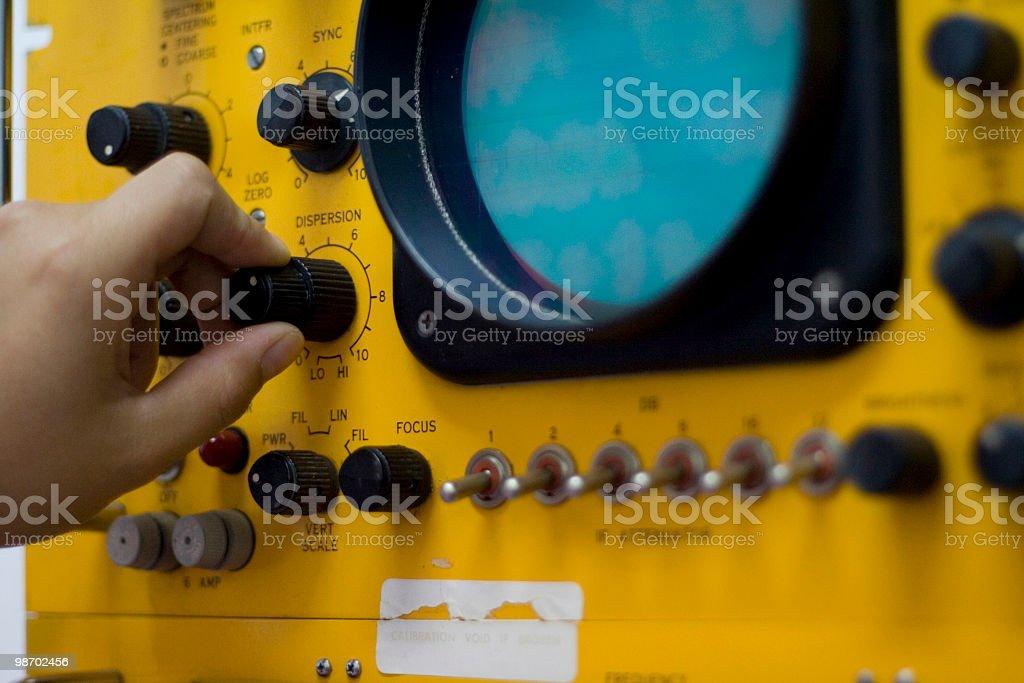 Old electronic machine (radiotelescope) royalty-free stock photo