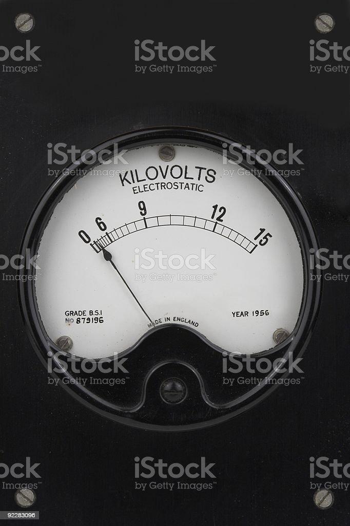 Old Electrostatic Kilovolt Meter royalty-free stock photo