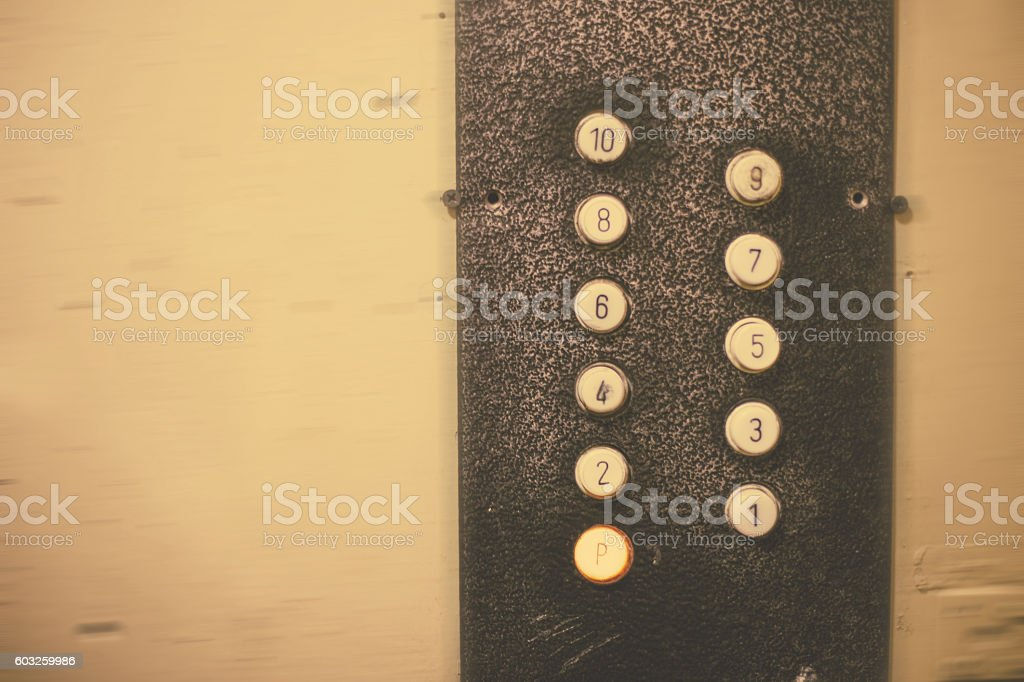 Old elevator, buttons, numbers of floors - foto de stock