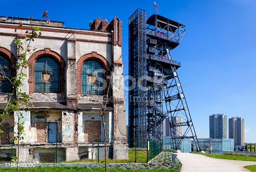 Old elevator tower of the former coal mine adapted as an observation tower over the Katowice, Poland