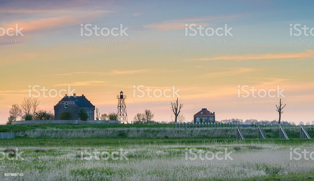 Old Emmeloord harbor at the former island Schokland in Holland stock photo
