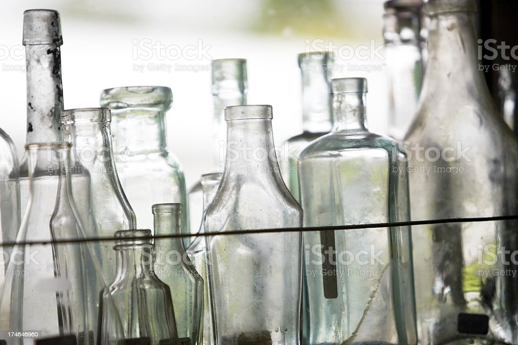 Old empty bottles royalty-free stock photo