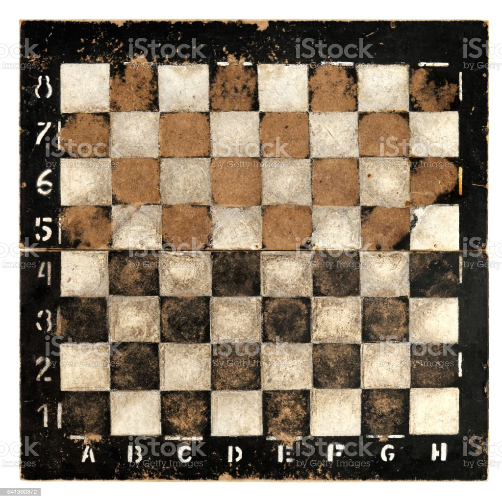 Old empty chess board stock photo