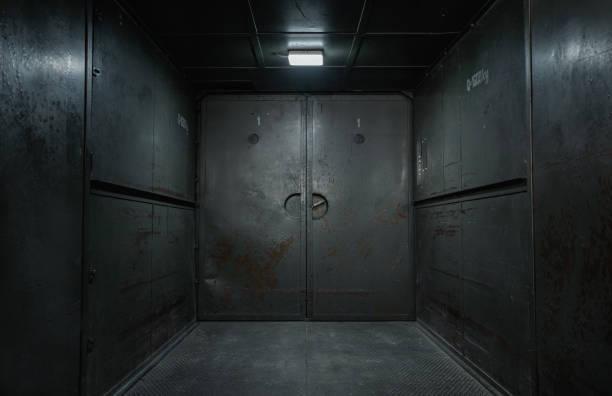 Old, empty, grunge industrial interior stock photo