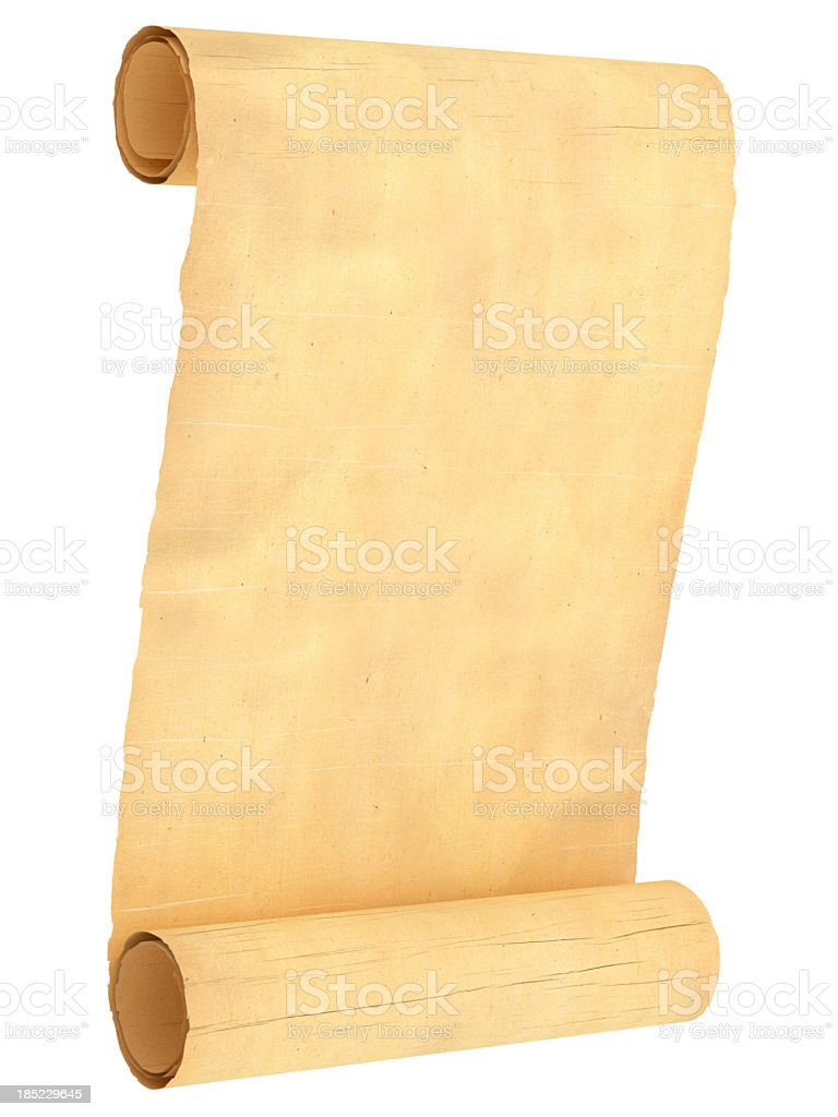 Old empty scroll isolated on white.