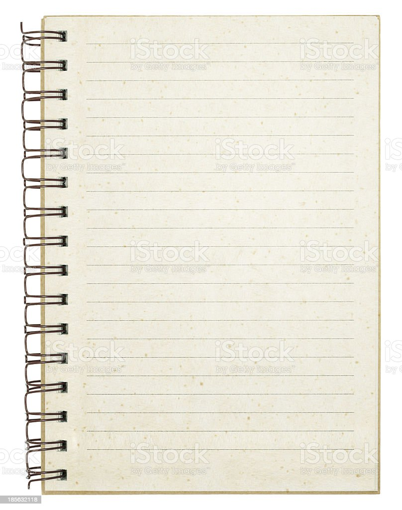 old empty striped notebook with brown ring binder royalty-free stock photo