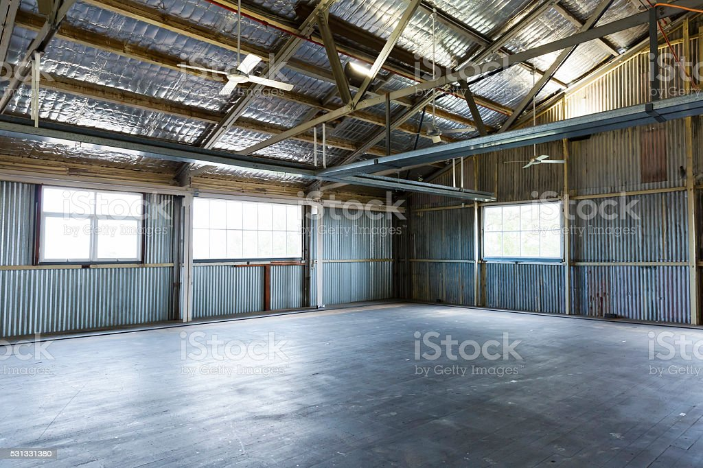 Old empty warehouse, copy space stock photo