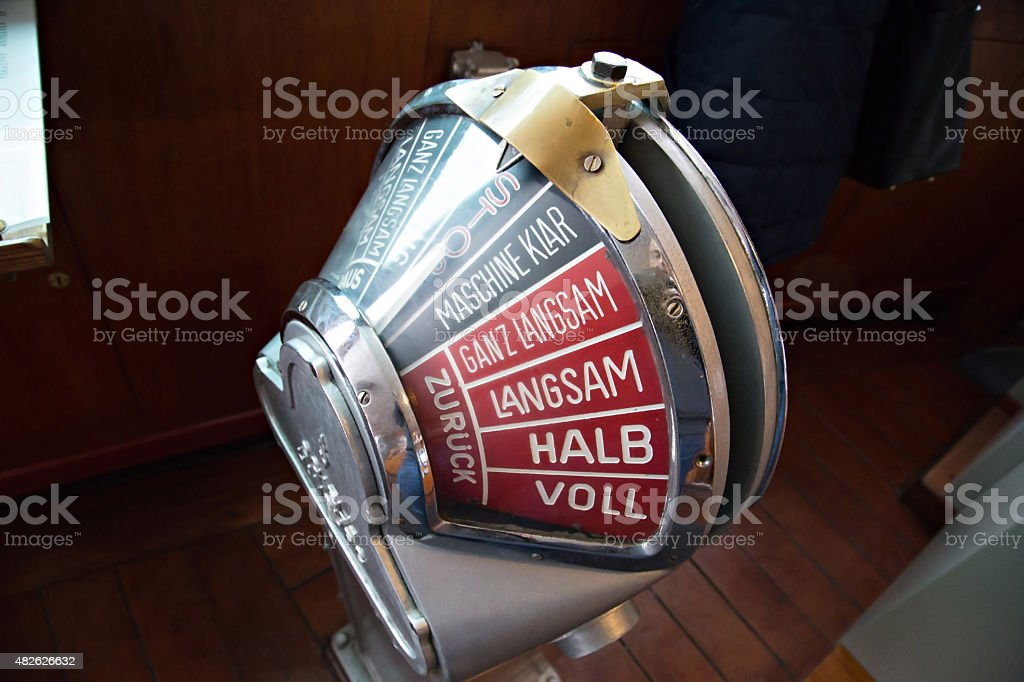 Old engine order telegraph on stand-by mode stock photo