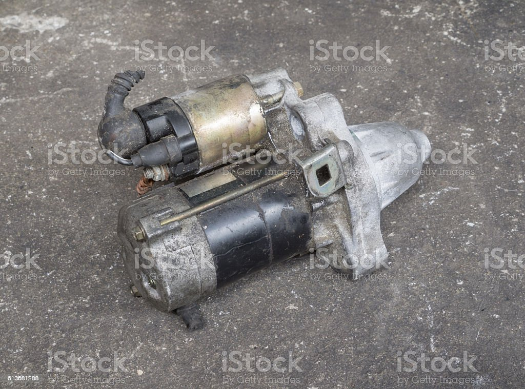 Old engine starter stock photo