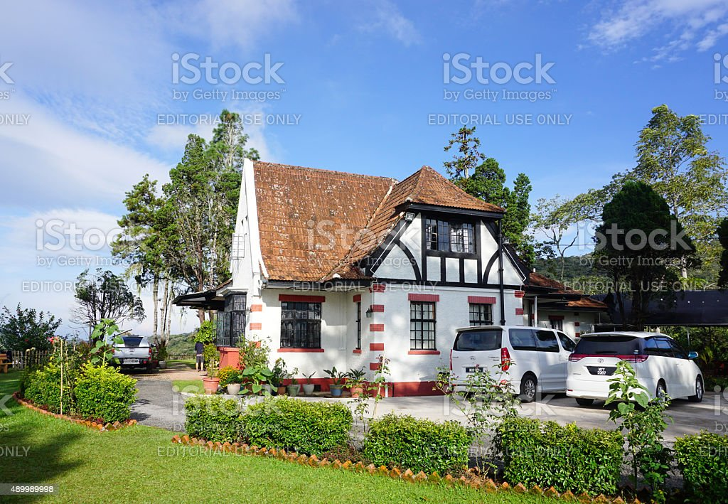 Old English colonial style houses stock photo