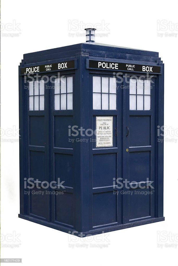 Old English Police Box Isolated stock photo