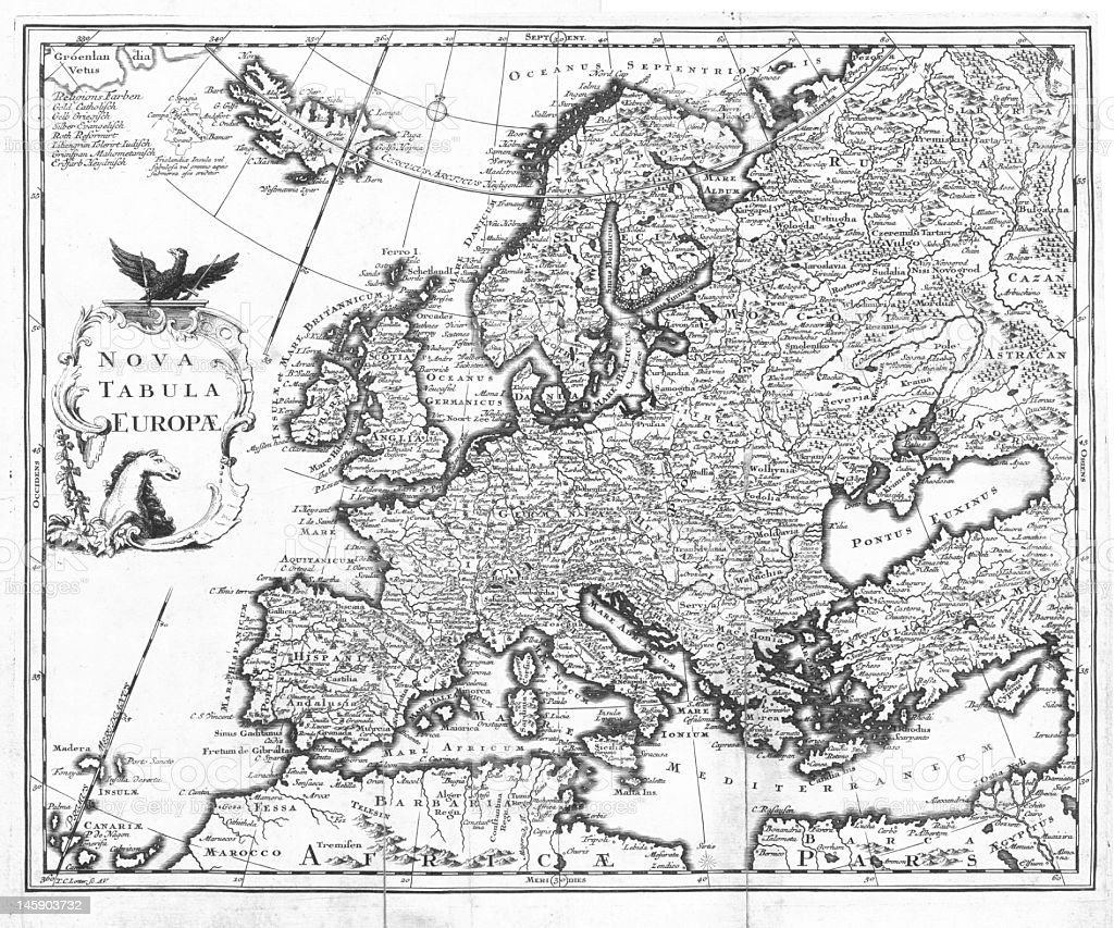 Old engraved map of Europe stock photo