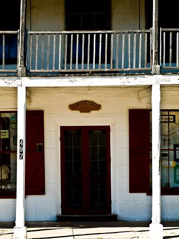 Cedar Key, FL USA 02/01/2009: Old entryway to heritage building in Cedar Key on Florida's Nature Coast.