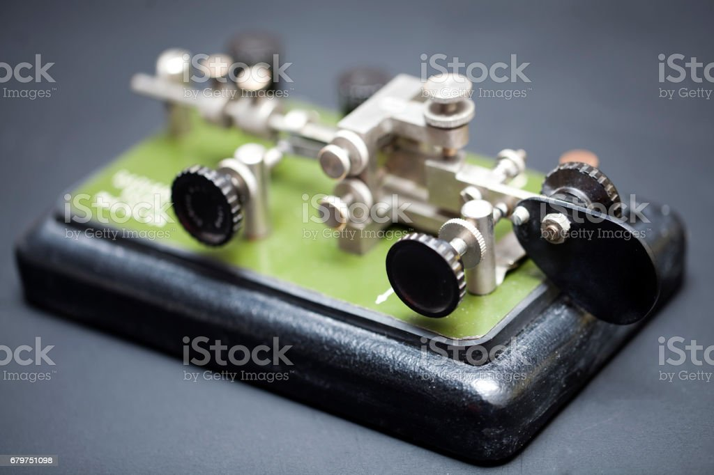 Old equipment for Morse code communication stock photo