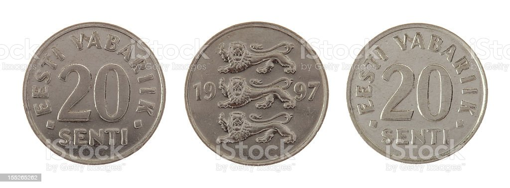 Old Estonian Coin Isolated on White stock photo