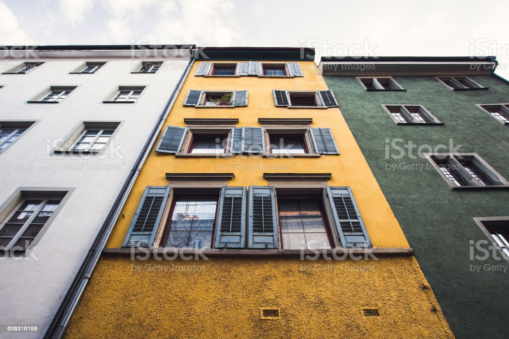 Old european architecture, colorful facades stock photo